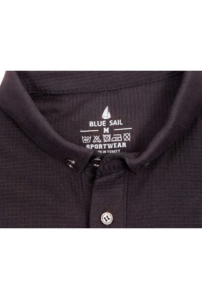 Blue Sail Siyah Renk Waffle Kumaş Polo Yaka Erkek Tişört