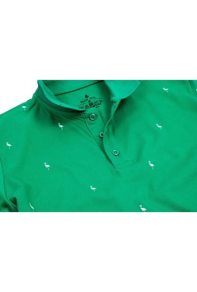 Blue Sail Yeşil Flamingo Baskılı Polo Erkek Tişört
