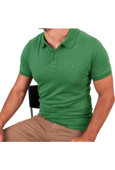 Blue Sail Yeşil Renk Polo Yaka Erkek Tişört