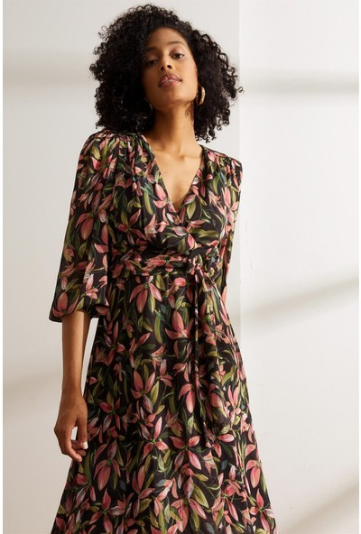 Setre Siyah Çiçek Desenli Kruvaze Elbise S