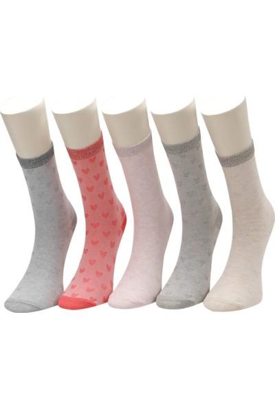 Mın Jak 5 Lı Skt-G Gri Multi Kız Çocuk Soket Çorap