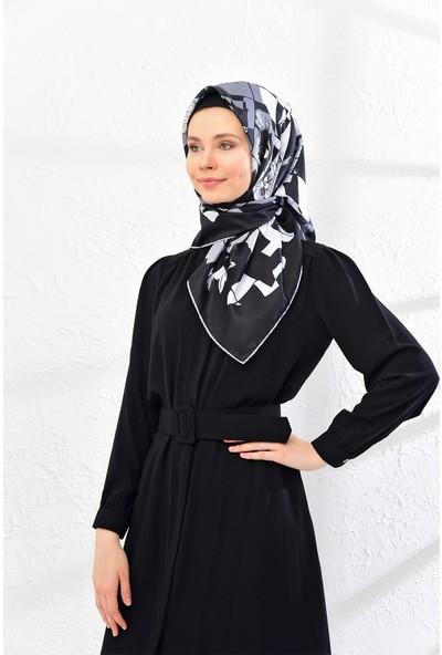 Lanjeron Geometrik Desenli Twill Eşarp Siyah 89580
