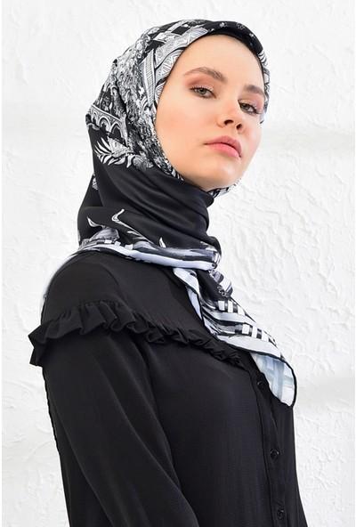 Lanjeron Manzara Desenli Twill Eşarp Siyah 89556.9
