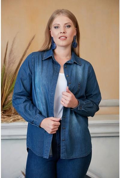 Rmg Yaka ve Cepleri Zımba Detaylı Büyük Beden Mavi Kot Gömlek