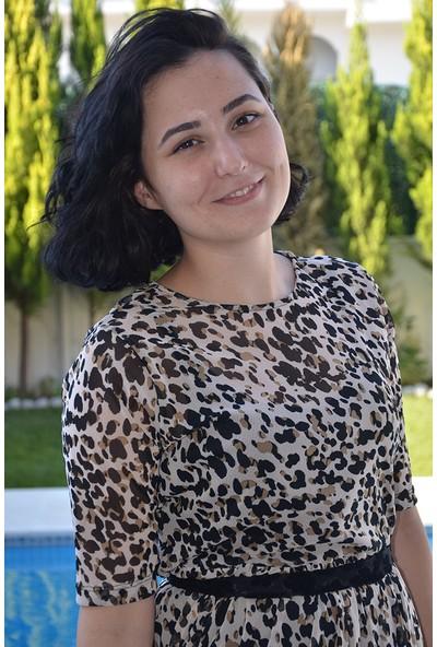 Kiki Leopar Şifon Elbise