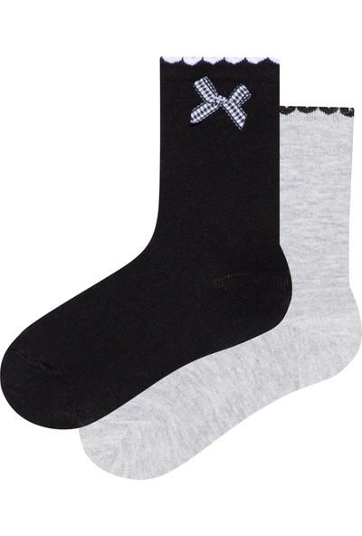 Penti Siyah - Gri Melanj Kız Çocuk Mini Kurdele 2'li Soket Çorap