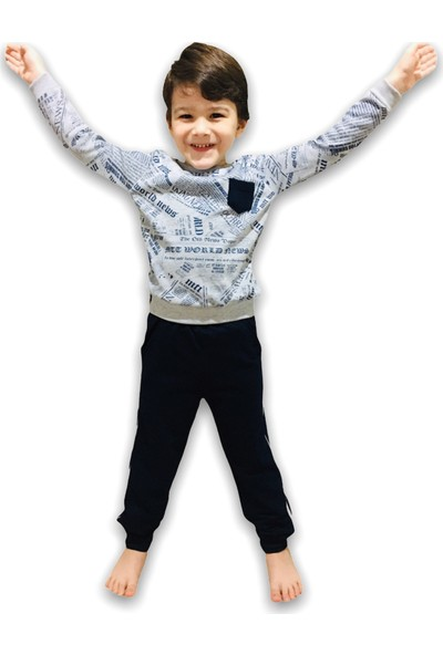 Minigo Gazete Desen Erkek Çocuk Eşofman Takımı