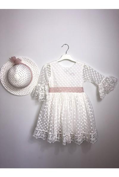 Mixie Baby Ekru Şapkalı Tüllü Güpür Detaylı Kız Çocuk Elbisesi + Şapka