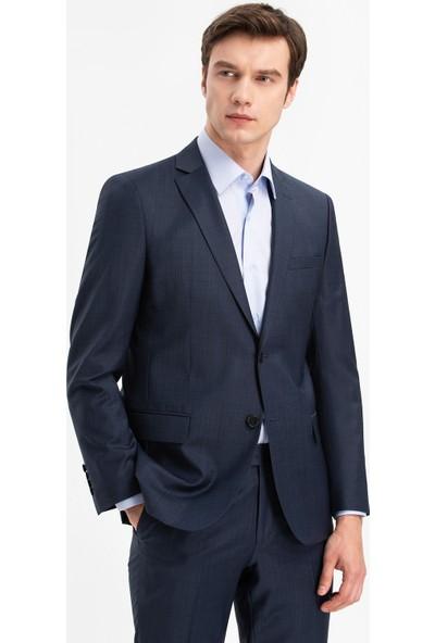 Hateko Dar Kesim Filafil Koyu Mavi %88 Yün Takım Elbise