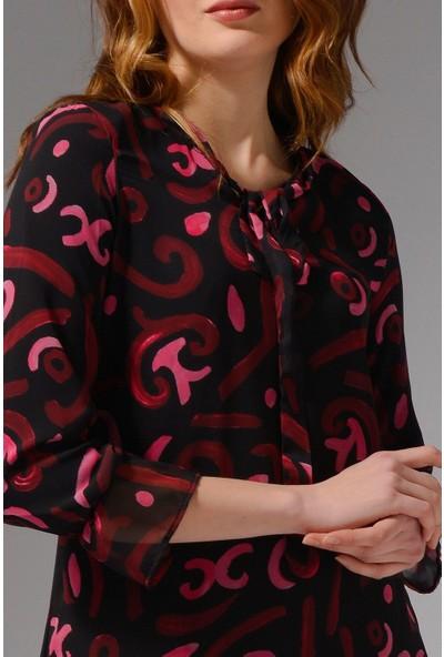 Nefise Eteği Fırfır Detaylı Desenli Şifon Tunik - Vişne
