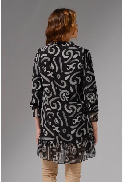 Nefise Eteği Fırfır Detaylı Desenli Şifon Tunik - Gri