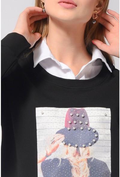 Nefise Gömlek Yaka Aplike Detaylı Tunik