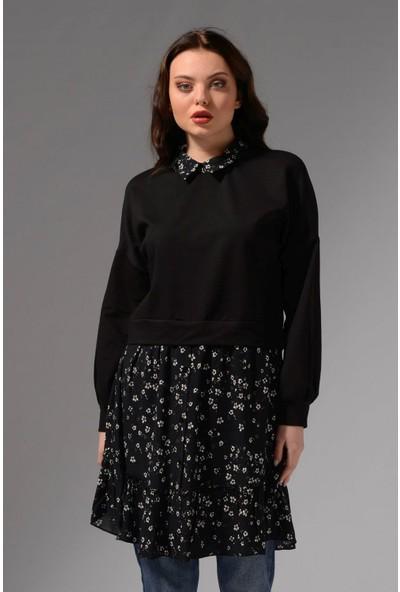 Nefise Gömlek Yaka Eteği Çiçek Desenli Tunik - Siyah-Gri