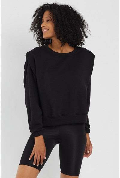 4 Sisters Fashion Siyah Vatkalı Sweatshirt S
