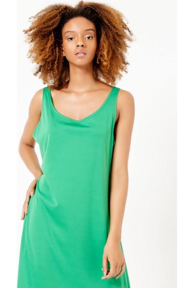 Adze Kadın Yeşil Bisiklet Yaka Etek Fırfır Elbise