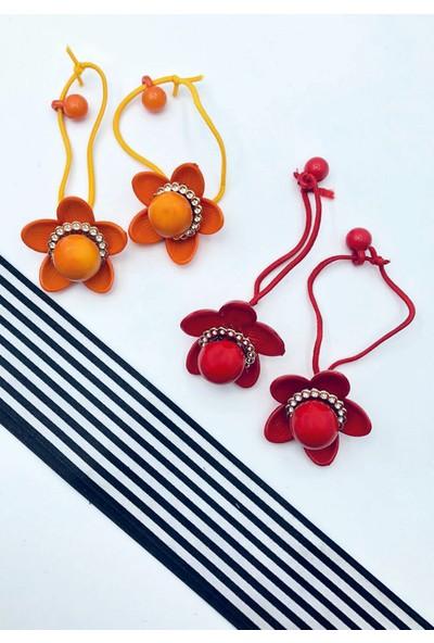 Stoli Çiçek Figürlü 4'lü Lastik Toka Seti, Kız Çocuk Tokası Örgü Lastiği 3