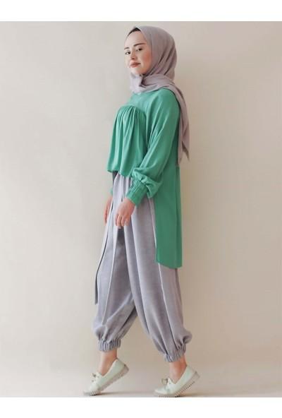 Sümeyra Küçükşahin Nil Yeşili Robalı Bluz