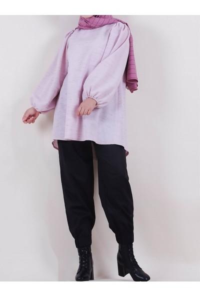 Sümeyra Küçükşahin Pembe Keten Bol Bluz