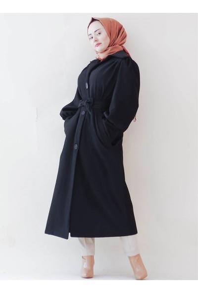 Sümeyra Küçükşahin Ara Boy Siyah Vintage Kaban