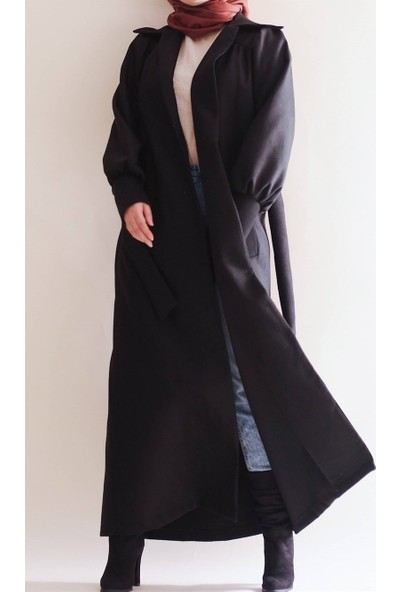 Sümeyra Küçükşahin Tam Boy Siyah Vintage Kaban