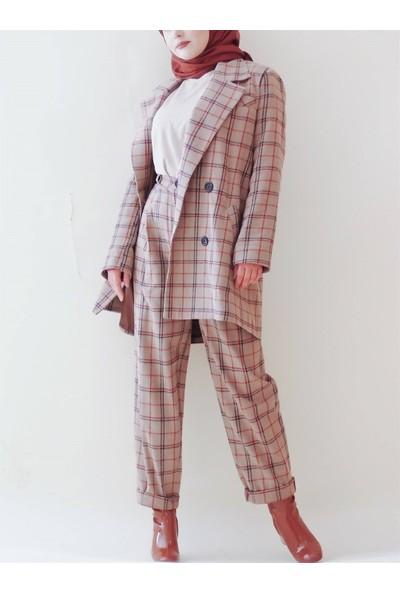 Sümeyra Küçükşahin Ekose Pantolon Ceket Takım