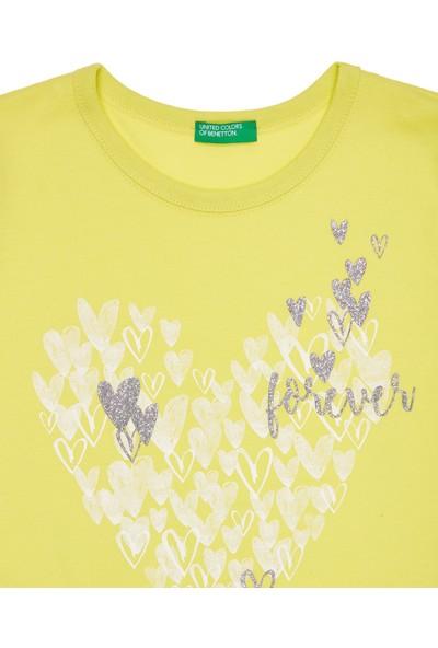 United Colors Of Benetton Kız Çocuk Kız Çocuk Kelebek Çiçek Baskılı T-Shirt