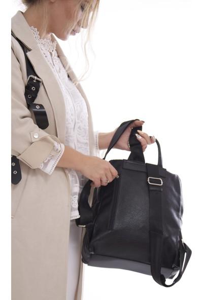 Fume London Kadın Siyah Fermuarlı Yumuşak Deri Sırt Çantası FB3068