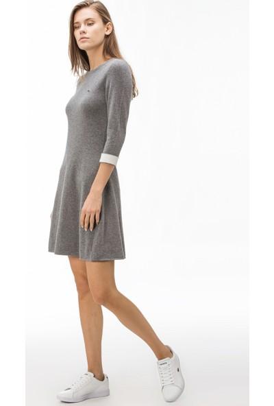 Lacoste Kadın Kaşmir Karışımlı Truvakar Kollu Gri Elbise EF1930 30G