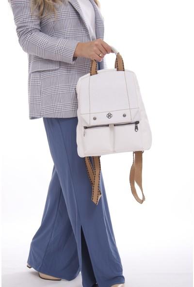 Fume London Kadın Beyaz Fermuarlı Kapaklı Trend Sırt Çantası FB3072