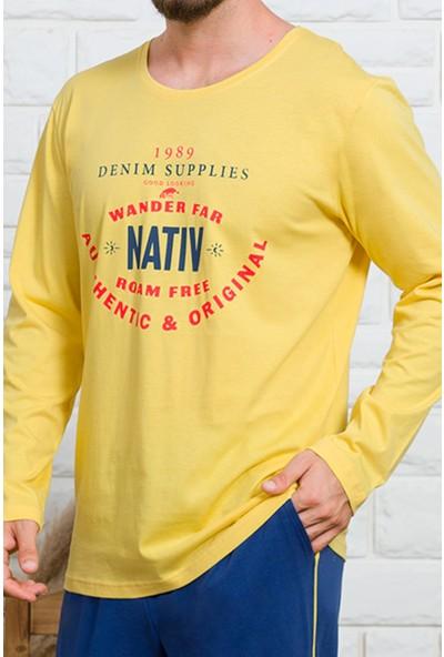 Gazzaz Erkek Sarı Pamuk Pijama Takım