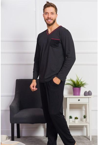 Gazzaz Erkek Siyah Pamuk Pijama Takım