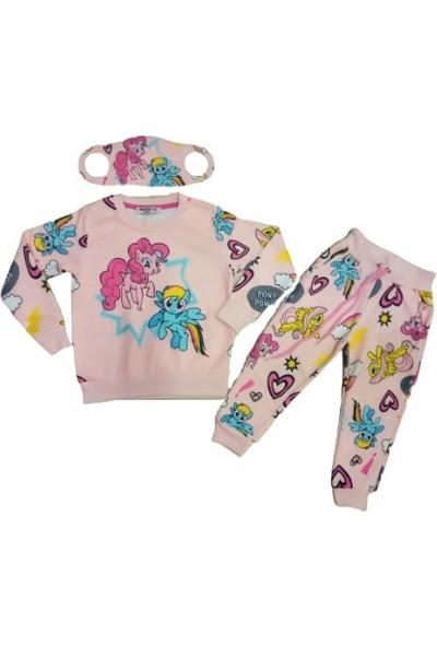 Fosforlu Kız Çocuk Pony Desenli Maskeli Eşofman Takımı Pudra - Pembe 3 - 4 Yaş