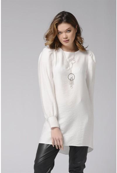 Nefise Omuz ve Manşet Detaylı Tunik - Beyaz