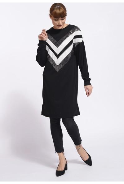 Nefise Önü Pullu Yarasa Tunik - Siyah