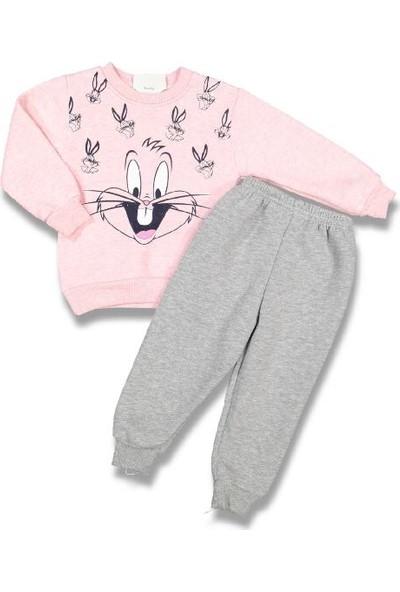 Juuta Kız Çocuk Pembe Bugs Bunny Tavşanlı Pembe Gri Alt Üst Alt Üst Takım 1 Yaş