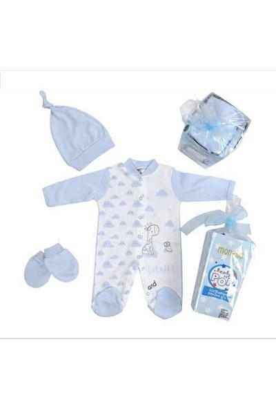 Monello 3'lü Zürafa Baskılı Erkek Bebek Tulum Seti Hediye Paketiyle 6 - 9 Ay