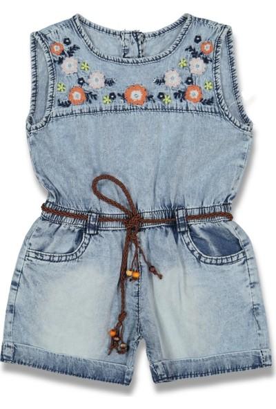 Oryeda Nakışlı Çiçekli Kız Çocuk Bebek Elbise Tulum 2 Yaş