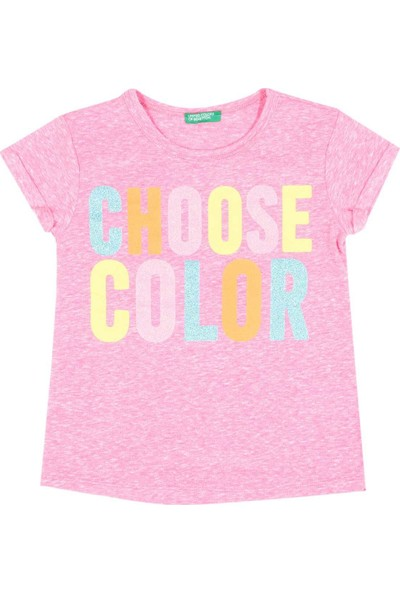 United Colors Of Benetton Kız Çocuk Choose Color Baskılı Tshirt