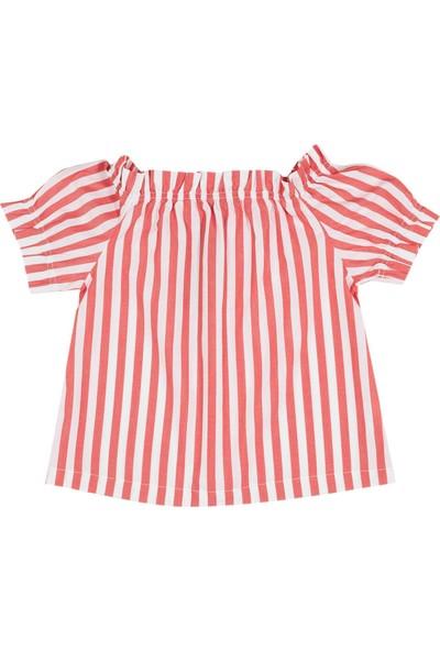 United Colors Of Benetton Kız Çocuk Düşük Omuzlu Çizgili Poplin Bluz