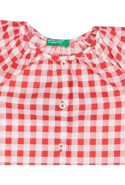 United Colors Of Benetton Kız Çocuk Renkli Kareli Bluz