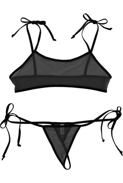 Liona Fantazi İç Giyim Transparan Siyah Seksi İç Çamaşırı Bağlamalı Fantezi Sütyen Külot Takımı