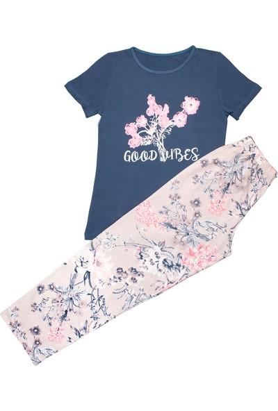 İlbaş Kısa Kollu Desenli Pijama Takım Lacivert Çiçek S