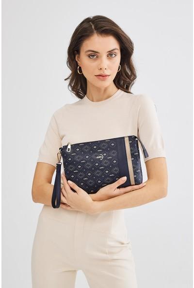 Deri Company Kadın Basic Clutch Çanta Monogram Desenli Şeritli Lacivert Beyaz (4006L) 214012