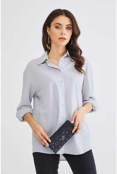 Deri Company Kadın Basic Cüzdan Monogram Desenli Lacivert Beyaz (8011DC-L) 213014