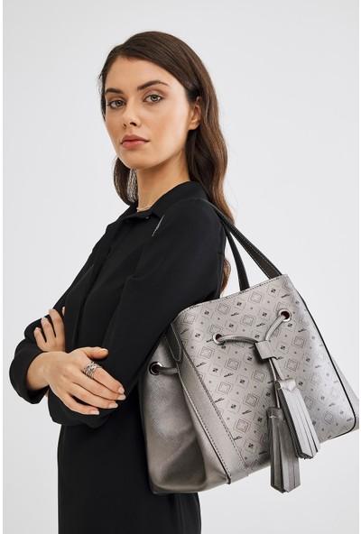 Deri Company Kadın Basic Omuz Çantası Monogram Desenli Gümüş Siyah (4026DC-G) 214027