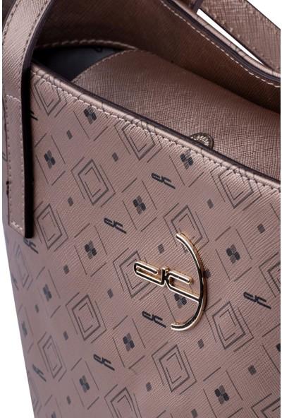 Deri Company Kadın Basic Omuz Çantası Monogram Desenli Logolu Altın Siyah (4008A) 214014