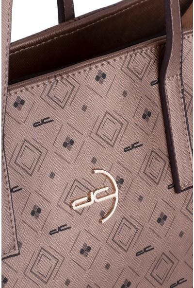Deri Company Kadın Basic Omuz Çantası Monogram Desenli Logolu Altın Siyah (4017A) 214021