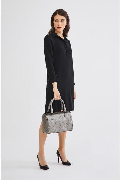 Deri Company Kadın Basic Omuz Çantası Monogram Desenli Logolu Gümüş Siyah (4009G) 214015