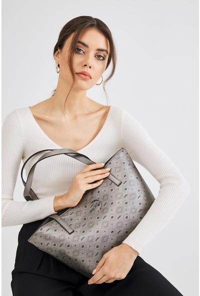 Deri Company Kadın Basic Omuz Çantası Monogram Desenli Logolu Gümüş Siyah (4013G) 214018