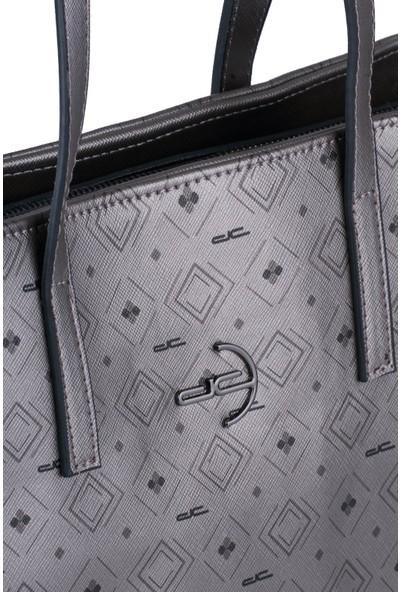 Deri Company Kadın Basic Omuz Çantası Monogram Desenli Logolu Gümüş Siyah (4017G) 214021